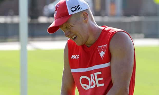 Dan Hannebery shows the effects after his big time trial effiort. Picture: Sydneyswans.com.au