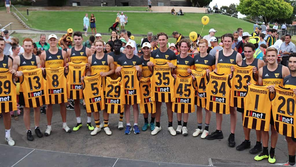 The Hawks with their new guernsey numbers. Picture: @HawthornFC Twitter - AFL,Hawthorn Hawks