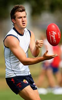 Jack Trengove in action during Dees' training. Picture: Getty Images