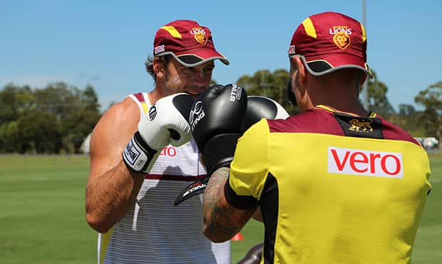 Josh Walker boxing during the Lions' training camp. Picture: lions.com.au