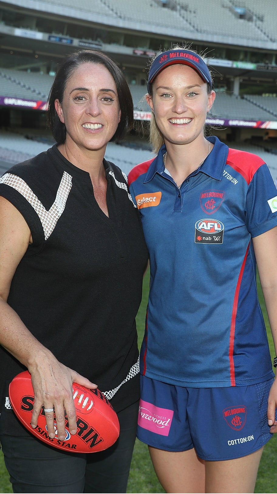 Maddie Shevlin with Nicole Livingston at the IWD event - AFLW,Melbourne Demons,Maddie Shevlin