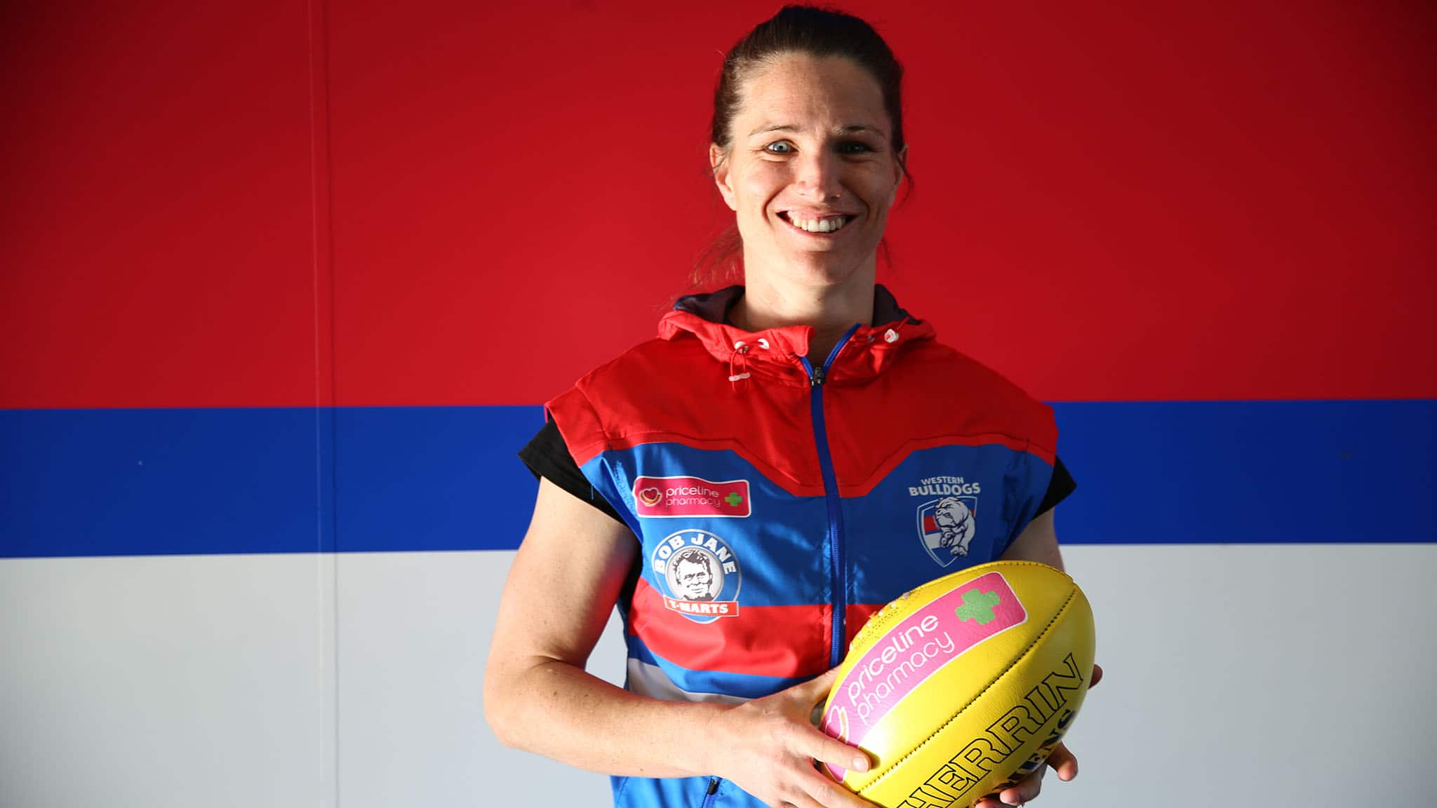 Bulldog Emma Mackie has come a long way since representing Australia in cycling. Picture: Western Bulldogs - AFLW,Western Bulldogs,Emma Mackie