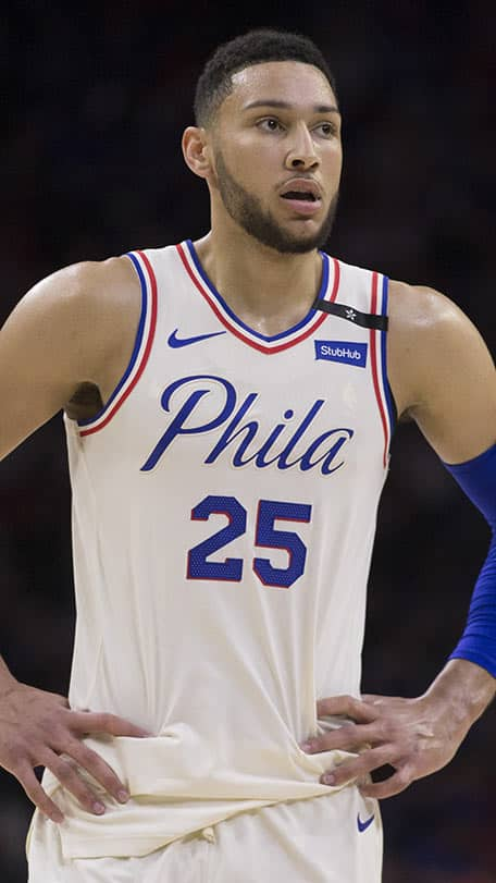 Philadelphia 76ers guard Ben Simmons. Picture: Getty Images - AFL,Essendon Bombers