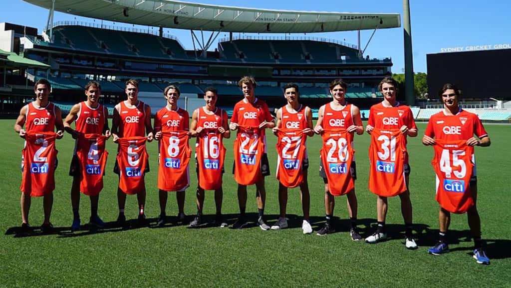 The new Swans with their 2019 guernsey numbers. Picture: sydneyswans.com.au - AFL,Sydney Swans,Daniel Menzel,Alex Johnson