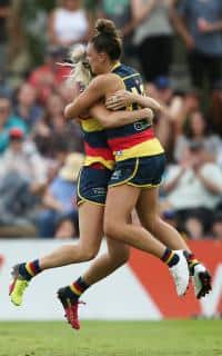Deni Varnhagen and Ebony Marinoff celebrate another Crows goal - ${keywords}