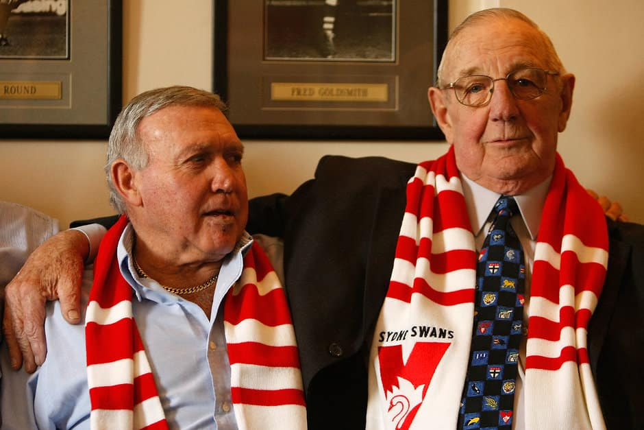 Bob Skilton (L) & Fred Goldsmith (R) reminisce during a Sydney Swans Hall of Fame Media Call at the Rising Sun Hotel, South Melbourne.