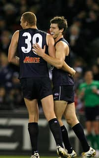 Sam Jacobs and Bryce Gibbs at Carlton in 2010