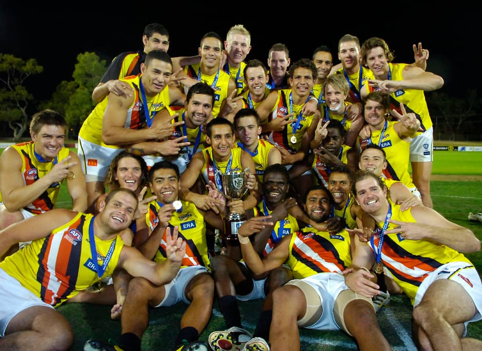 The NT Thunder celebrate their 2011 NEAFL premiership. All pictures: AFL Photos - AFL