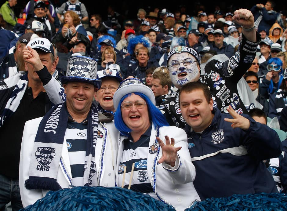 Cats fans cheering on their side at the MCG - Geelong Cats