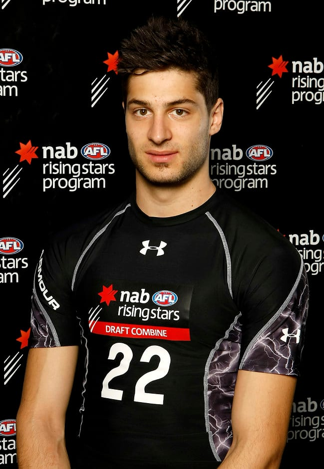 David Mirra poses for a portrait at the 2011 NAB AFL Draft Combine at Etihad Stadium in Melbourne.
