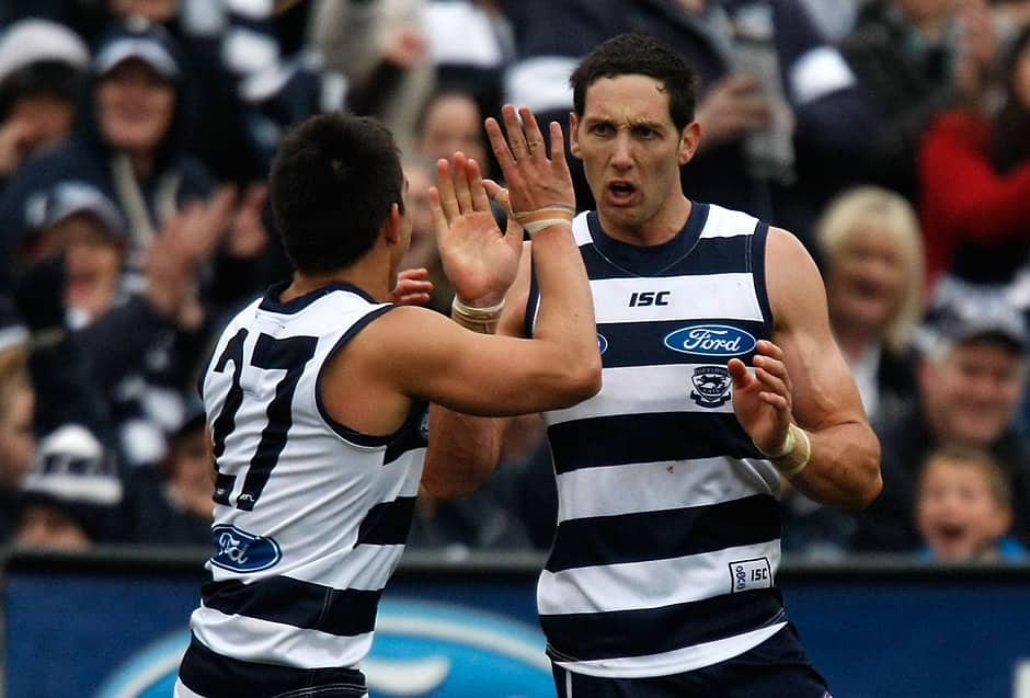 Harry Taylor celebrates a goal with Matthew Stokes. - Geelong Cats,Harry Taylor