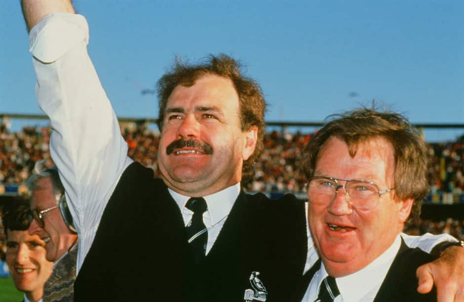 Leigh Matthews and Allan McAlister celebrate Collingwood's victory in the 1990 Grand Final - Collingwood Magpies