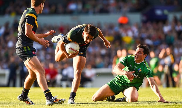 Chad Wingard of Australia gathers his feet during the 2014 International Rules match between Australia and Ireland at Patersons Stadium, Perth on November 22, 2014. (Photo: Daniel Carson/AFL Media)