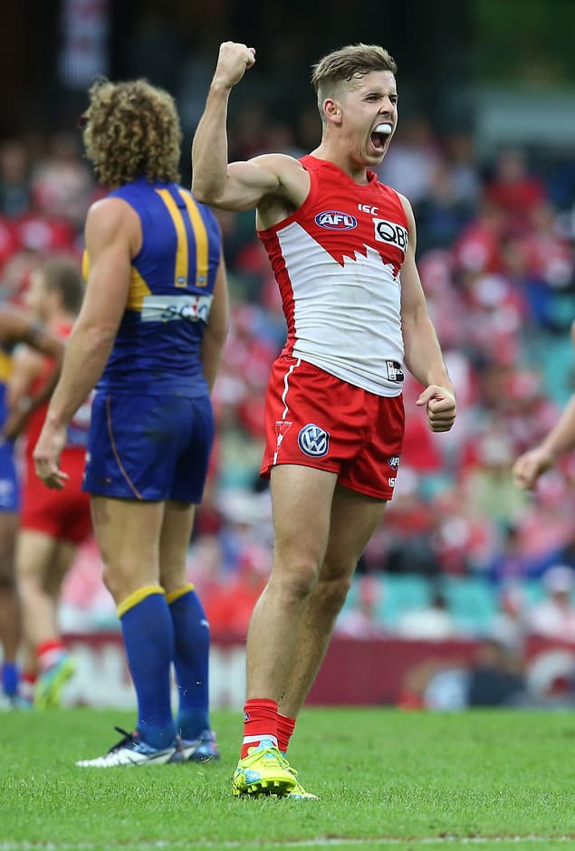 SYDNEY, AUSTRALIA - APRIL 23: Jake Lloyd of the Swans celebrates after kicking a goal during the 2016 AFL Round 05 match between the Sydney Swans and the West Coast Eagles at the Sydney Cricket Ground, Sydney on April 23, 2016. (Photo by Craig Golding/AFL Media)