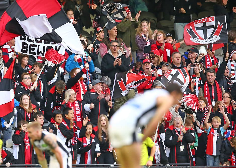MELBOURNE, AUSTRALIA - JUNE 12: saints fans in the crowd celebrate as the Saints win the 2016 AFL Round 12 match between the St Kilda Saints and the Carlton Blues at Etihad Stadium on June 12, 2016 in Melbourne, Australia. (Photo by Scott Barbour/AFL Media)