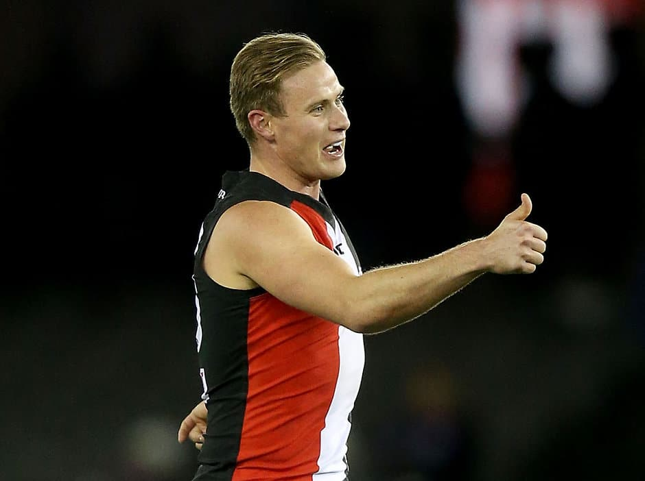 MELBOURNE, AUSTRALIA - JULY 23: David Armitage of the Saints celebrates a goal during the 2016 AFL Round 18 match between the Western Bulldogs and the St Kilda Saints at Etihad Stadium on July 23, 2016 in Melbourne, Australia. (Photo by Justine Walker/AFL Media)