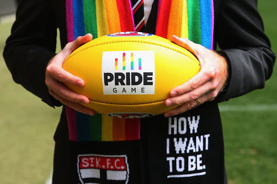 MELBOURNE, AUSTRALIA - AUGUST 09:  St.Kilda Saints CEO Matt Finnis holds the Pride Game rainbow ball during an AFL media opportunity at Etihad Stadium on August 9, 2016 in Melbourne, Australia. St.Kilda Saints will play Sydney Swans in the Pride Game on the weekend.  (Photo by Michael Dodge/Getty Images/AFL Media)