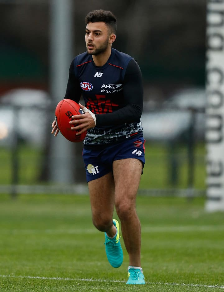 MELBOURNE, AUSTRALIA - AUGUST 19: Christian Salem of the Demons in action during the Melbourne Demons training session at Gosch's Paddock in Melbourne, Australia on August 19, 2016. (Photo by Michael Willson/AFL Media)