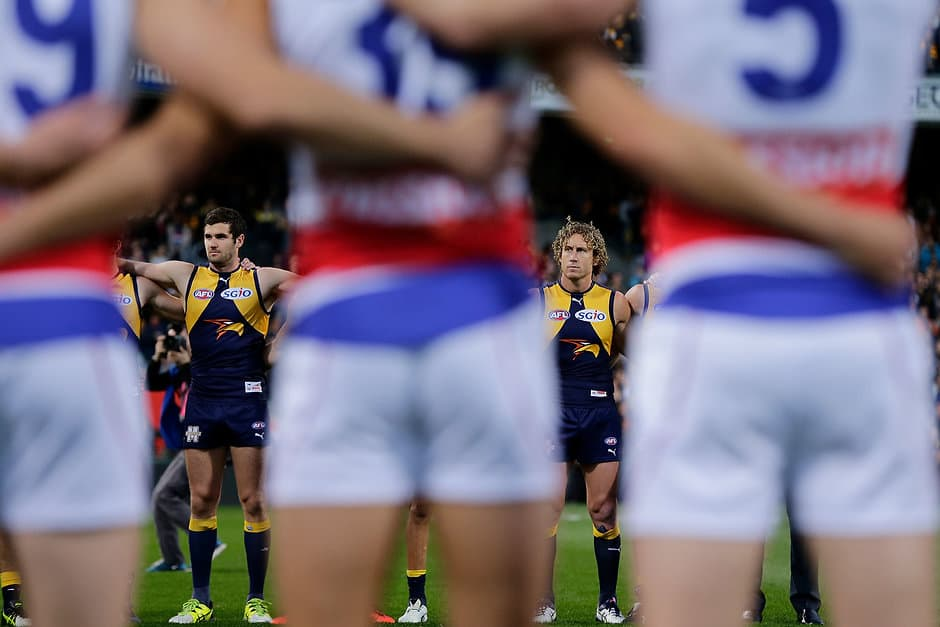 PERTH, AUSTRALIA - SEPTEMBER 08: Jack Darling and Matt Priddis of the Eagles look on during the National Anthem during the 2016 AFL Second Elimination Final match between the West Coast Eagles and the Western Bulldogs at Domain Stadium on September 08, 2016 in Perth, Australia. (Photo by Will Russell/AFL Media)