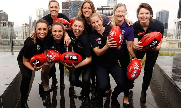 MELBOURNE, AUSTRALIA - OCTOBER 12: The top 8 draft picks pose for a photo during the 2016 NAB AFLW Draft at NAB Building on October 12, 2016 in Melbourne, Australia. (Photo by Adam Trafford/AFL Media)