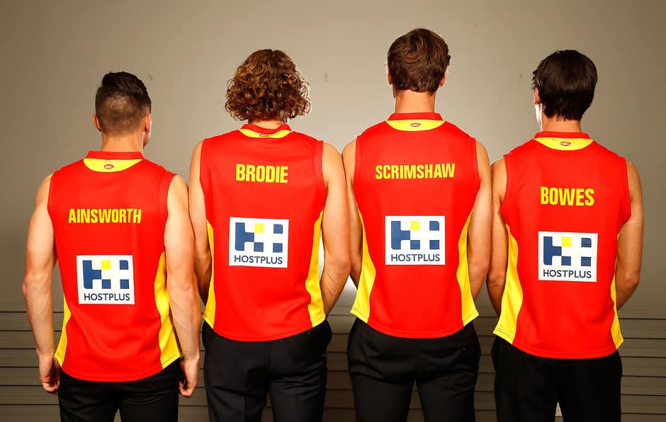 SYDNEY, AUSTRALIA - NOVEMBER 25: (L-R) Will Brodie, Ben Ainsworth, Jack Scrimshaw, Jack Bowes of the Gold Coast Suns during the 2016 NAB AFL Draft at the Hordern Pavilion on November 25, 2016 in Sydney, Australia. (Photo by Adam Trafford/AFL Media)
