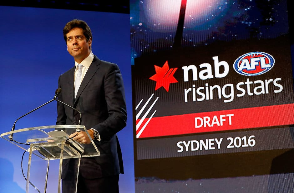 SYDNEY, AUSTRALIA - NOVEMBER 25: Gillon McLachlan, Chief Executive Officer of the AFL addresses the room during the 2016 NAB AFL Draft at the Hordern Pavilion on November 25, 2016 in Sydney, Australia. (Photo by Adam Trafford/AFL Media)