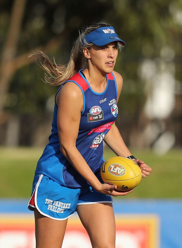 MELBOURNE, AUSTRALIA - DECEMBER 15: Bailey Hunt during the Western Bulldogs Womens open training session at Whitten Oval on December 15, 2016 in Melbourne, Australia. (Photo by Scott Barbour/AFL Media)
