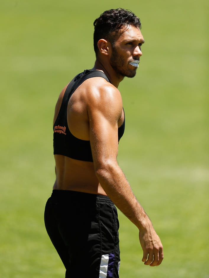 PERTH, AUSTRALIA - JANUARY 16: Harley Bennell of the Dockers looks on during the Fremantle Dockers training session at Fremantle Oval on January 16, 2017 in Perth, Australia. (Photo by Michael Willson/AFL Media)