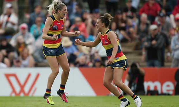 Crows AFL Women's players Deni Varnhagen and Ebony Marinoff