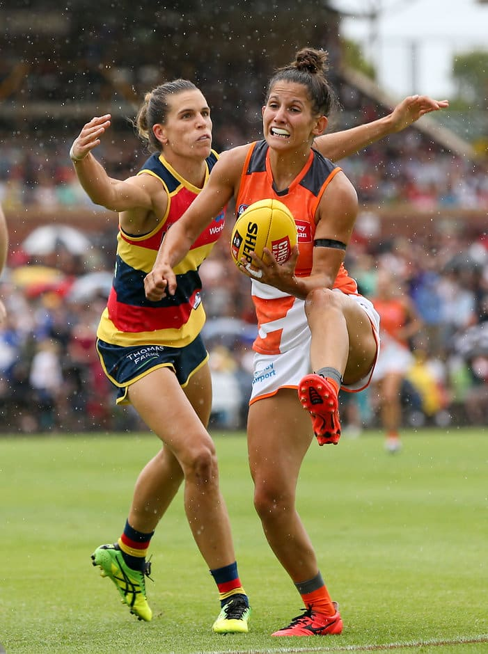 Chelsea Randall tackles Giant Jessica Dal Pos during the AFLW round one clash. Picture: AFL Photos - ${keywords}
