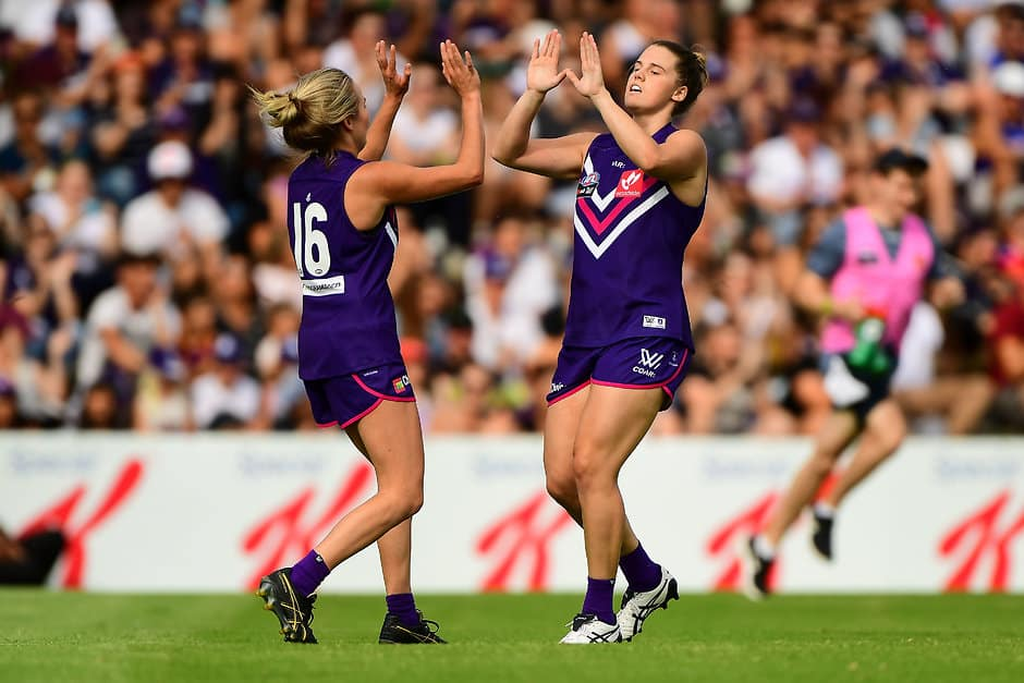Stacey Barr celebrates a goal kicked against Brisbane during the 2017 AFLW season. - Fremantle,Fremantle Dockers,AFLW