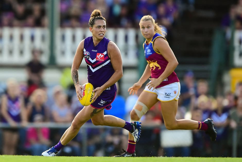 PERTH, AUSTRALIA - FEBRUARY 12: Kirby Bentley of the Dockers in action during the 2017 AFLW Round 02 match between the Fremantle Dockers and the Brisbane Lions at Fremantle Oval on February 12, 2017 in Perth, Australia. (Photo by Daniel Carson/AFL Media)