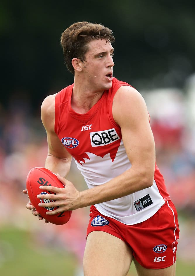 COFFS HARBOUR, AUSTRALIA - FEBRUARY 19:  Darcy Cameron of the Swans looks upfield during the 2017 JLT Community Series match between the Sydney Swans and North Melbourne Kangaroos at Coffs Harbour International Stadium on February 19, 2017 in Coffs Harbour, Australia.  (Photo by Matt King/Getty Images/AFL Media)