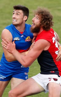 MELBOURNE, AUSTRALIA - FEBRUARY 18: Tom Campbell of the Bulldogs and Jake Spencer of the Demons compete in a ruck contest during the AFL 2017JLT Community Series match between the Western Bulldogs and the Melbourne Demons at VU Whitten Oval on February 18, 2017 in Melbourne, Australia. (Photo by Adam Trafford/AFL Media)