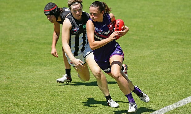 Ashley Sharp in action for Fremantle during the inaugural AFLW season.