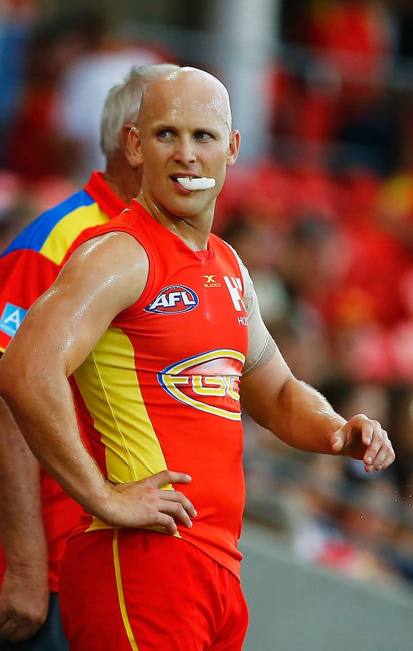 GOLD COAST, AUSTRALIA - MARCH 09:  Gary Ablett of the Suns during the JLTR Community Series AFL match between the Gold Coast Suns and the Western Bulldogs at Metricon Stadium on March 9, 2017 in Gold Coast, Australia.  (Photo by Jason O'Brien/AFL Media/Getty Images)