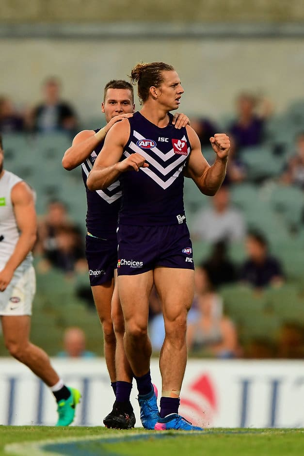 PERTH, AUSTRALIA - MARCH 10: Nathan Fyfe of the Dockers celebrates a Super goal during the AFL 2017 JLT Community Series match between the Fremantle Dockers and the Carlton Blues at Domain Stadium on March 10, 2017 in Perth, Australia. (Photo by Daniel Carson/AFL Media)