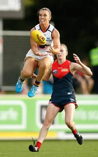 DARWIN, AUSTRALIA - MARCH 11: Abbey Holmes of the Crows marks the ball during the 2017 AFLW Round 06 match between the Adelaide Crows and the Melbourne Demons at TIO Stadium on March 11, 2017 in Darwin, Australia. (Photo by Michael Willson/AFL Media)
