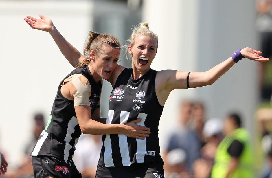 Christina Bernardi celebrates a goal against GWS last season - AFL,AFLW,Collingwood Magpies,Christina Bernardi,Stephanie Chiocci