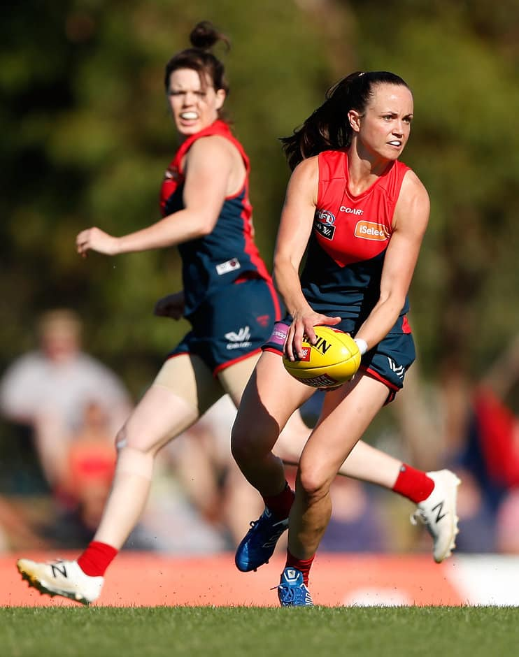 MELBOURNE, AUSTRALIA - MARCH 18: Daisy Pearce of the Demons in action during the 2017 AFLW Round 07 match between the Melbourne Demons and the Fremantle Dockers at Casey Fields on March 18, 2017 in Melbourne, Australia. (Photo by Adam Trafford/AFL Media)