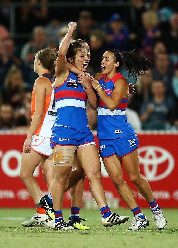 Ellie Blackburn celebrates her last-second goal against GWS - ${keywords}