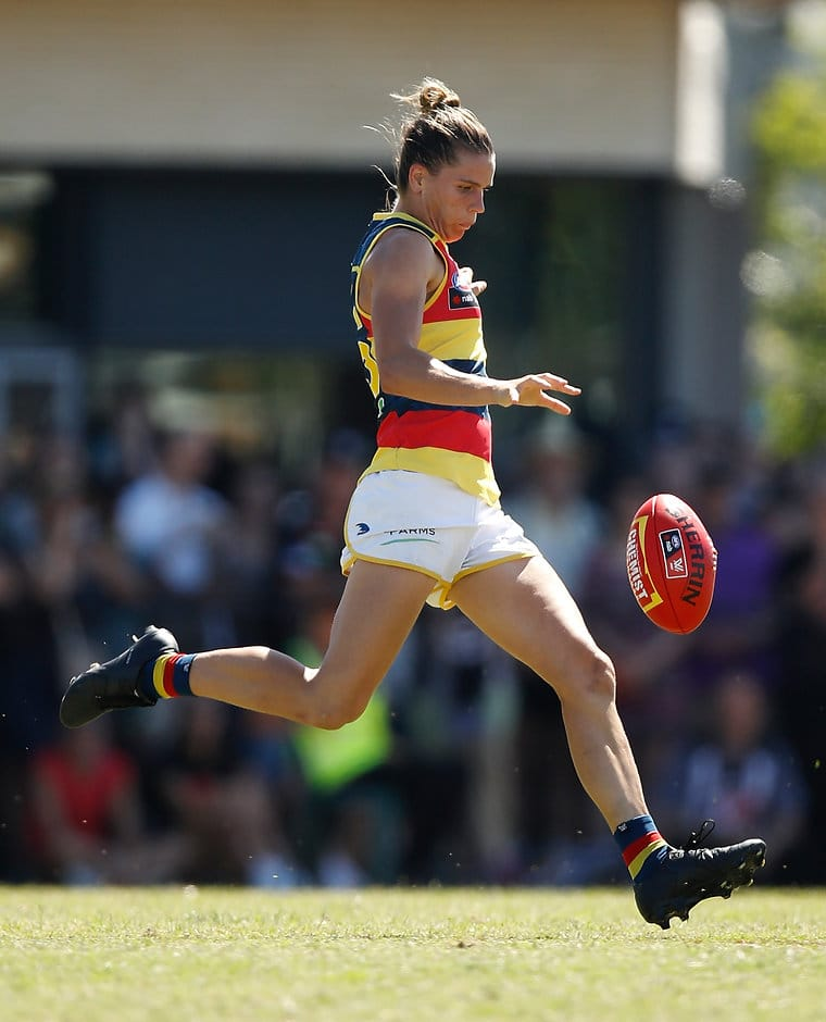MELBOURNE, AUSTRALIA - MARCH 19: Chelsea Randall of the Crows kicks the ball during the 2017 AFLW Round 07 match between the Collingwood Magpies and the Adelaide Crows at Olympic Park Oval on March 19, 2017 in Melbourne, Australia. (Photo by Michael Willson/AFL Media)