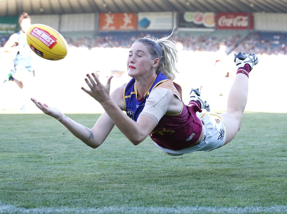 Star forward Tayla Harris in action for the Brisbane Lions  - AFLW