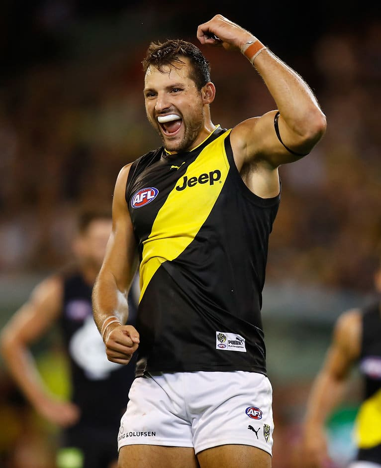 MELBOURNE, AUSTRALIA - MARCH 23: Toby Nankervis of the Tigers celebrates a goal during the 2017 AFL round 01 match between the Carlton Blues and the Richmond Tigers at the Melbourne Cricket Ground on March 23, 2017 in Melbourne, Australia. (Photo by Michael Willson/AFL Media)