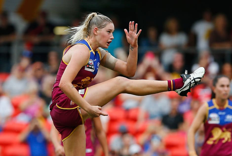 GOLD COAST, AUSTRALIA - MARCH 25:  Tayla Harris  of the Lions in action  during the AFL Women's Grand Final between the Brisbane Lions and the Adelaide Crows on March 25, 2017 in Gold Coast, Australia.  (Photo by Jason O'Brien/Getty Images)
