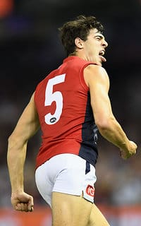 Christian Petracca shows his delight after a goal against the Saints