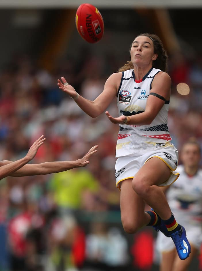 GOLD COAST, AUSTRALIA - MARCH 25: Jenna McCormick of the Crows attempts to mark during the 2017 AFLW Grand Final match between the Brisbane Lions and the Adelaide Crows at Metricon Stadium on March 25, 2017 in Gold Coast, Australia. (Photo by Sean Garnsworthy/AFL Media)