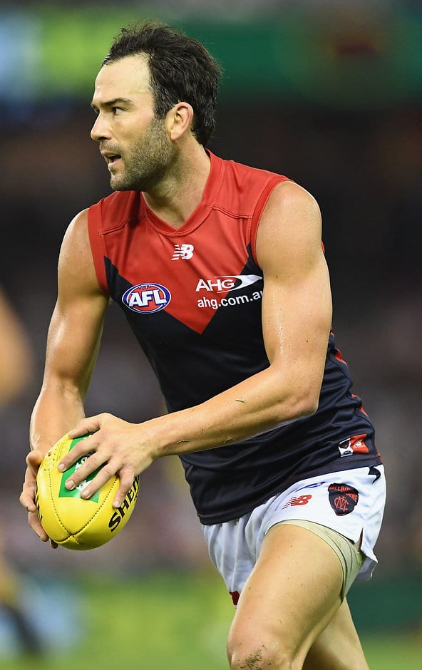 MELBOURNE, AUSTRALIA - MARCH 25:  Jordan Lewis of the Demons kicks during the round one AFL match between the St Kilda Saints and the Melbourne Demons at Etihad Stadium on March 25, 2017 in Melbourne, Australia.  (Photo by Quinn Rooney/Getty Images)