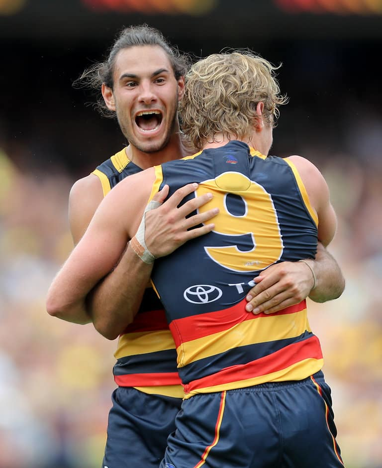 Troy Menzel celebrates a goal in round one - AFL,Adelaide Crows,Delistings,Dean Gore,Troy Menzel