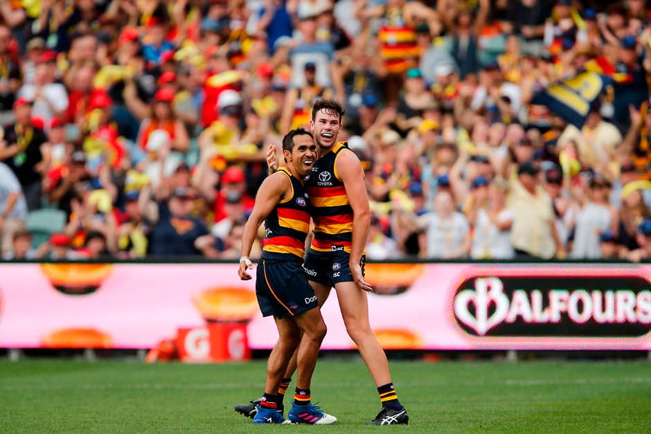 Mitch McGovern with fellow Crows forward Eddie Betts - Mitch McGovern,Adelaide Crows